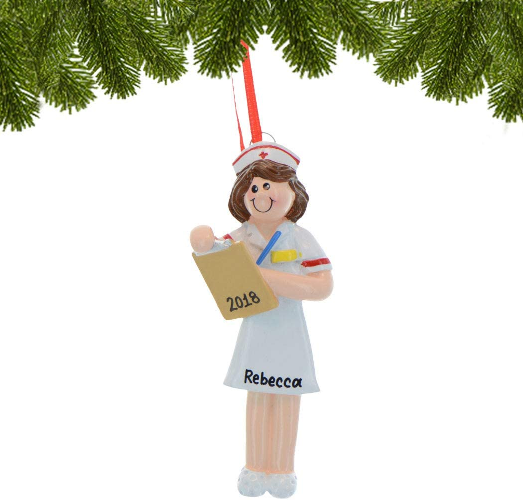 NAME PERSONALIZED ORNAMENT 2018 Best #1 Nurse Cap Christmas Tree Holiday Gift