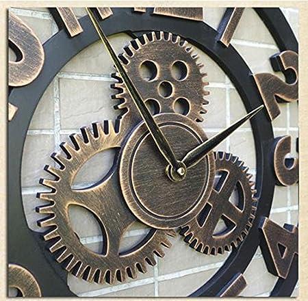 ZWL Gear Clock Personalisierte Uhren Industrial Wind Mute Retro Kreative Uhr Kunst Uhr Wohnzimmer Pers/önlichkeit Industrie Holz Technologie 40CM fashion Farbe : A