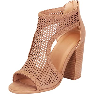 Cambridge Select Women's Open Toe Laser Cutout Caged Chunky Block High Heel Ankle Bootie | Ankle & Bootie