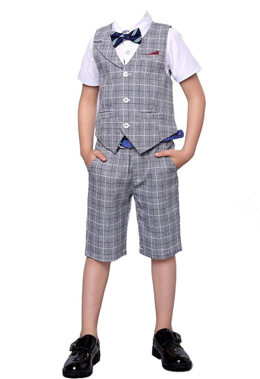 HZMY Boy Summer Leisure Suit 2 Pieces,Vest and Pants (12, Gray)