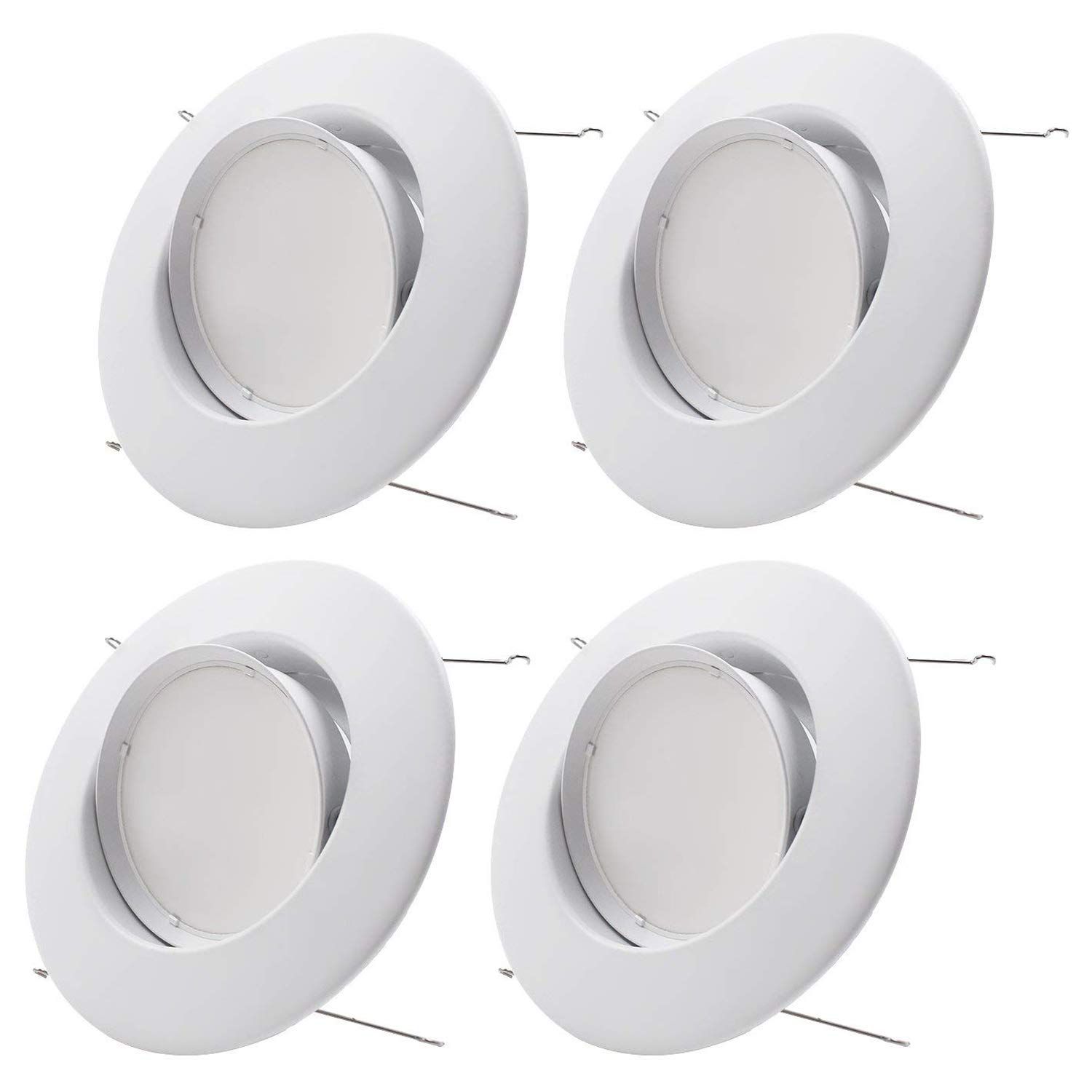 Sun & Star 10W 5/6inch Gimbal LED Recessed Light Retrofit Kit, 75W Equiv. Energy Star & UL Classified Light Fixture, Adjustable LED Directional Ceiling Down Light - 4000K Cool White, Pack of 4