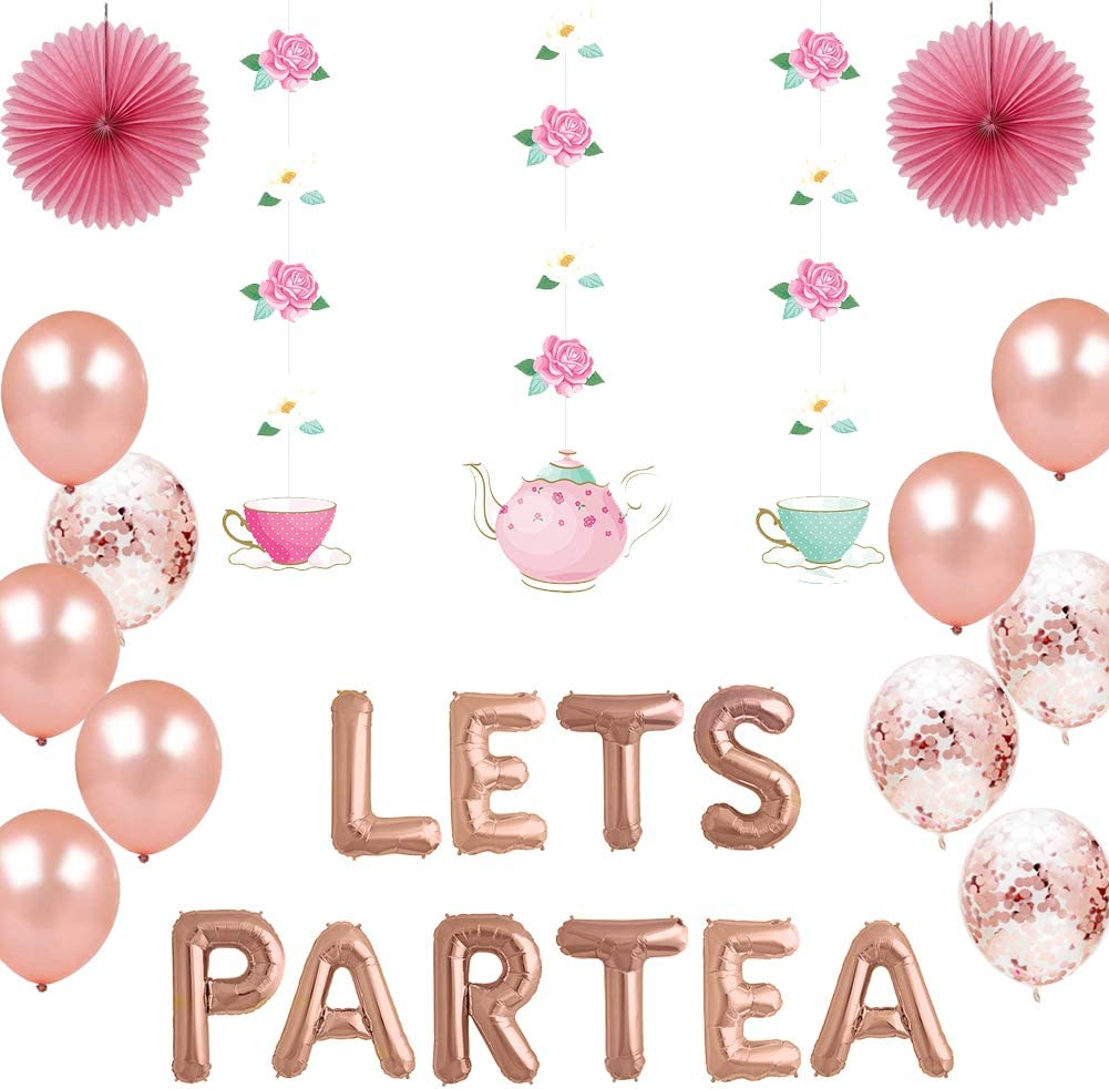 Geloar Tea Party Decorations, LET'S PARTEA Balloons Rose Gold Teapot Teacups High Tea Theme Floral Party Banner Hanging Decor for Baby Bridal Shower Engagement Bachelorette Girls Birthday (Teacup)