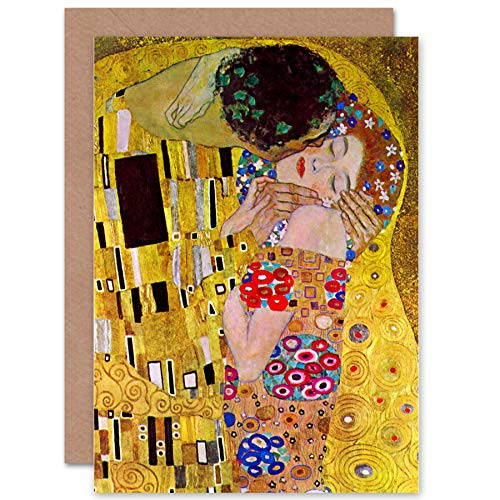 Price comparison product image Wee Blue Coo New Gustav Klimt The KISS Old Master Birthday Blank Greetings Card CP1114