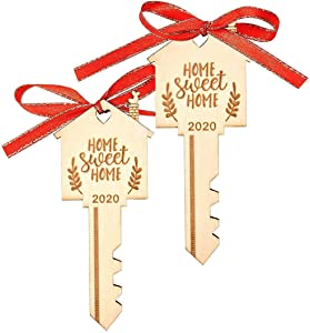 LEJHOME 2 Pcs Home Sweet Home Key Wood Key Christmas Ornament 2020 Housewarming Gift for Christmas Tree Holiday Home Decoration
