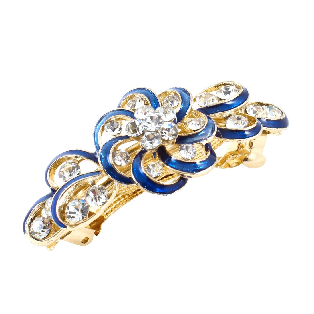 uxcell Woman Gold Tone Metal Blue Plastic Rhinestone Hairpin French Hair Clip Barrette a13060500ux0496