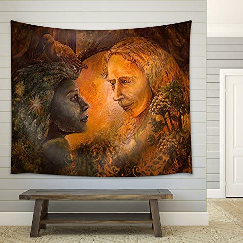 Illustration Woodland Dryade Fairy and Golden Man of Learning Fairytale Illustration Fabric Wall