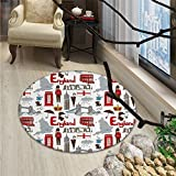 London small round rug Carpet Fun Colorful Sketch Royal Guard Map Rain Famous Country Landmarks and StonehengeOriental Floor and Carpets Multicolor