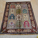 Yilong 2.7'x4' Hand Woven Silk Rug Oriental Turkish Tapestry Floral Hand Knotted Home Wall Hanging Carpet (2.7 Feet by 4 Feet, Multi Color) 0493