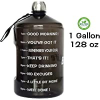 QuiFit 1 Gallon Water Bottle Reusable Leak-Proof Drinking Water Jug for Outdoor Camping BPA Free Plastic Sports Water Bottle with Daily Time Marked 2 Types(128oz/43oz)