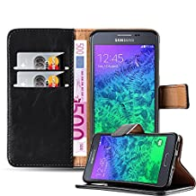 Cadorabo – Luxury Book Style Wallet Design Case for Samsung Galaxy ALPHA (G850) with 2 Card Slots and Stand Function - Etui Case Cover Protection Pouch in GRAPHITE-BLACK
