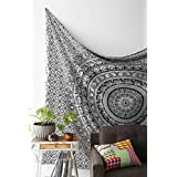 Montreal Tapessier white and black mandala Tapestry , Elephant Tapestry , Hippie Gypsy Wall Hanging , Tree of Life Tapestry , New Age Dorm Tapestry (Multi/Black)