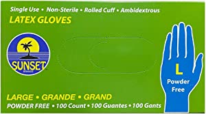 SmoothTouch Latex Gloves- Large-Powder Free- 100 count