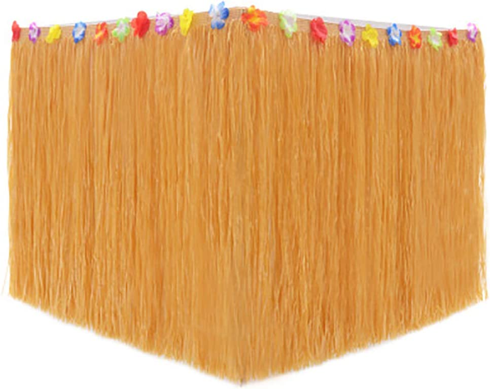 MJEMS Hawaiian Table Skirt 100ft Long! Brown Grass Skirts | Hibiscus Luau Party Decoration Tropical Theme Decor Fun Tiki Bar, Beach or Lilo and Stitch Halloween Christmas Festival Birthday Party