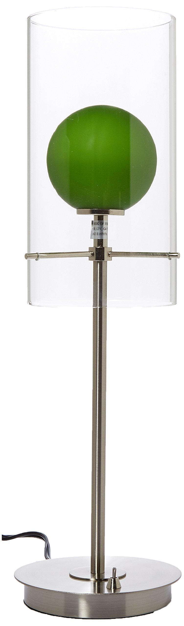 Lite Source LS-2149PS/L/GRN Burst Double Glass Table Lamp, Polished Steel with Light Green Inner Glass Shade, Multicolored