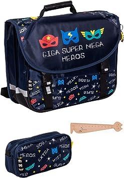 Lot Bagagerie escolar Pokémon: mochila LED 38 cm + Estuche rectangular + 1 regla gato madera blumie: Amazon.es: Equipaje