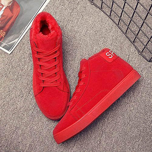 Men's Shoes Feifei High Quality Material Winter High Help Leisure Keep Warm Snow Boots 3 Colors (Color : Red, Size : EU39/UK6/CN39)