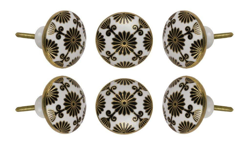 Satz von 6 keramischen Tessellate-Kabinettkn/öpfen K/üchenschrank-Kommode-T/ürknauf-Kleiderschrank-Fach ziehen durch Trinca-Ferro