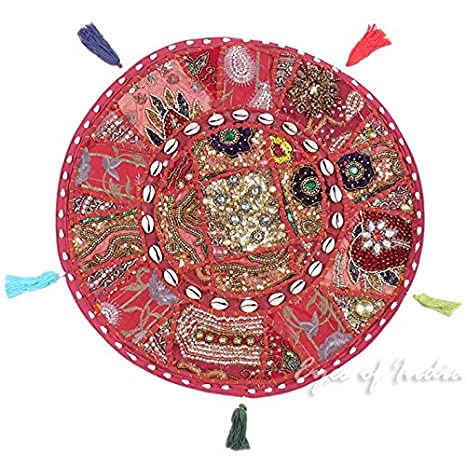 Eyes of India - 17\' Burgundy Red Round Colorful Floor Meditation Pillow Cover Cushion Seating Throw Patchwork Bohemian Indian Boho COVER ONLY