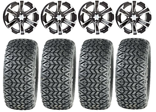 "Bundle - 9 items: ITP SS312 Black Golf Wheels 12"" 23x10-12 All Trail Tires"