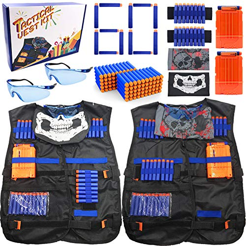 Tactical Vest Set of 2 Vest Kit for Nerf Guns Games, Include Vests, Darts Refill, Quick Reload Clips, Wrist Bands, Face Masks and Protective Glasses, Work with Nerf Guns, Nice Box for Kids