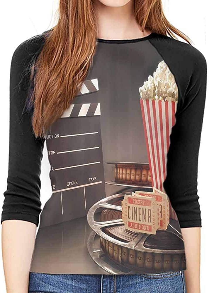 Long Sleeve Movie Theater Old Fashion Entertainment Objects Related to Cinema Film Reel Motion Picture WomenS Studio Long-Sleeve Large
