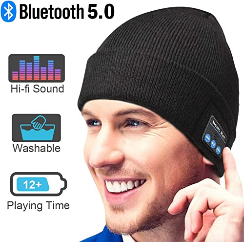Bluetooth Beanie Gift for Men and Women, Upgraded Bluetooth 5.0 Music Hat, Wireless Headphone Built-in HD Stereo Speakers with Rechargeable USB for Winter Fitness Outdoor Sports Christmas Gift