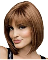 RightOn Classical Short Straight Women's Girl's Brown Synthetic Wig With Free Wig Cap and Comb