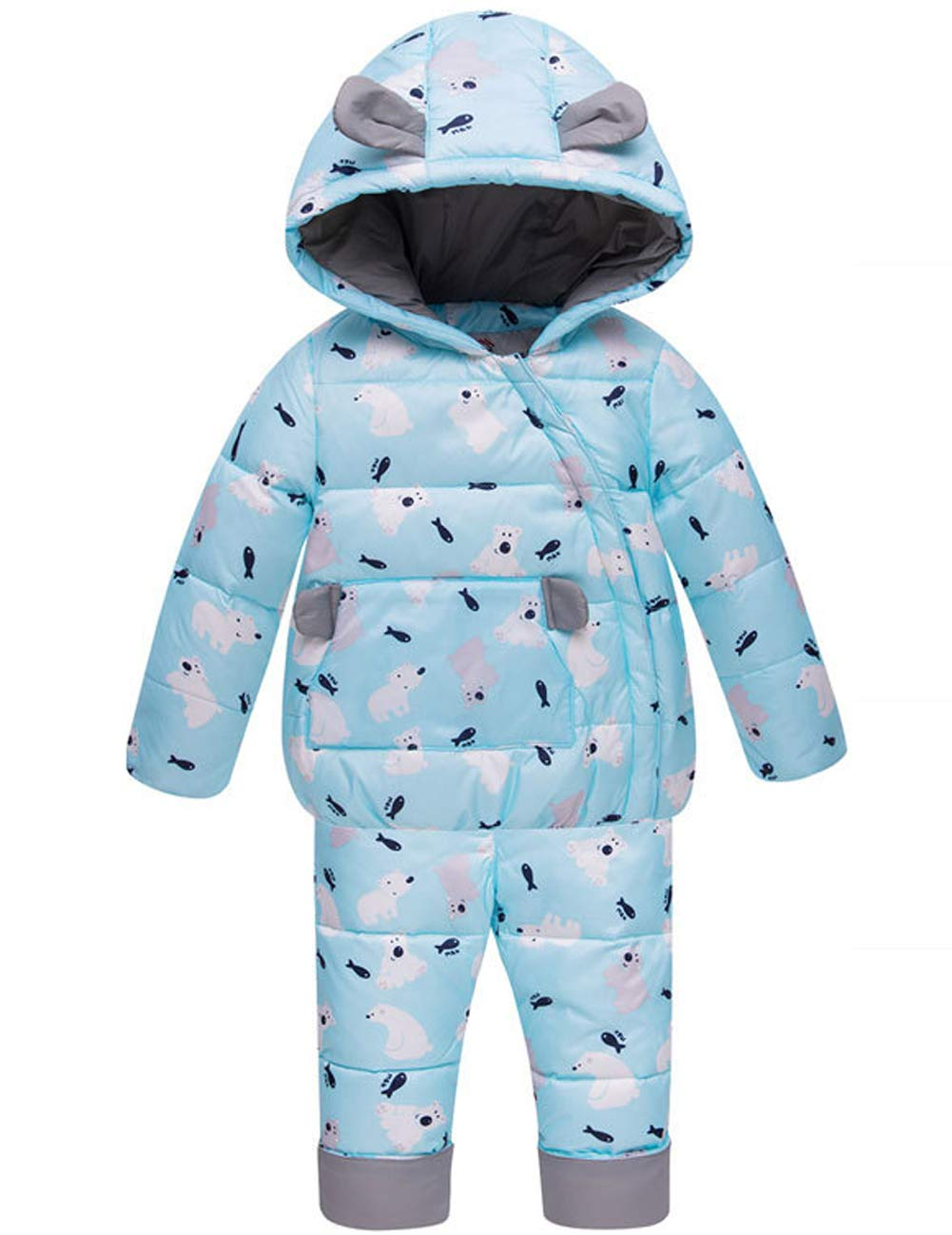 CADong Kids Baby Toddler Winter Ultralight Snowsuit, Puffer Jacket Two-Piece with Snow Ski Bib Pants for Little Unisex Baby