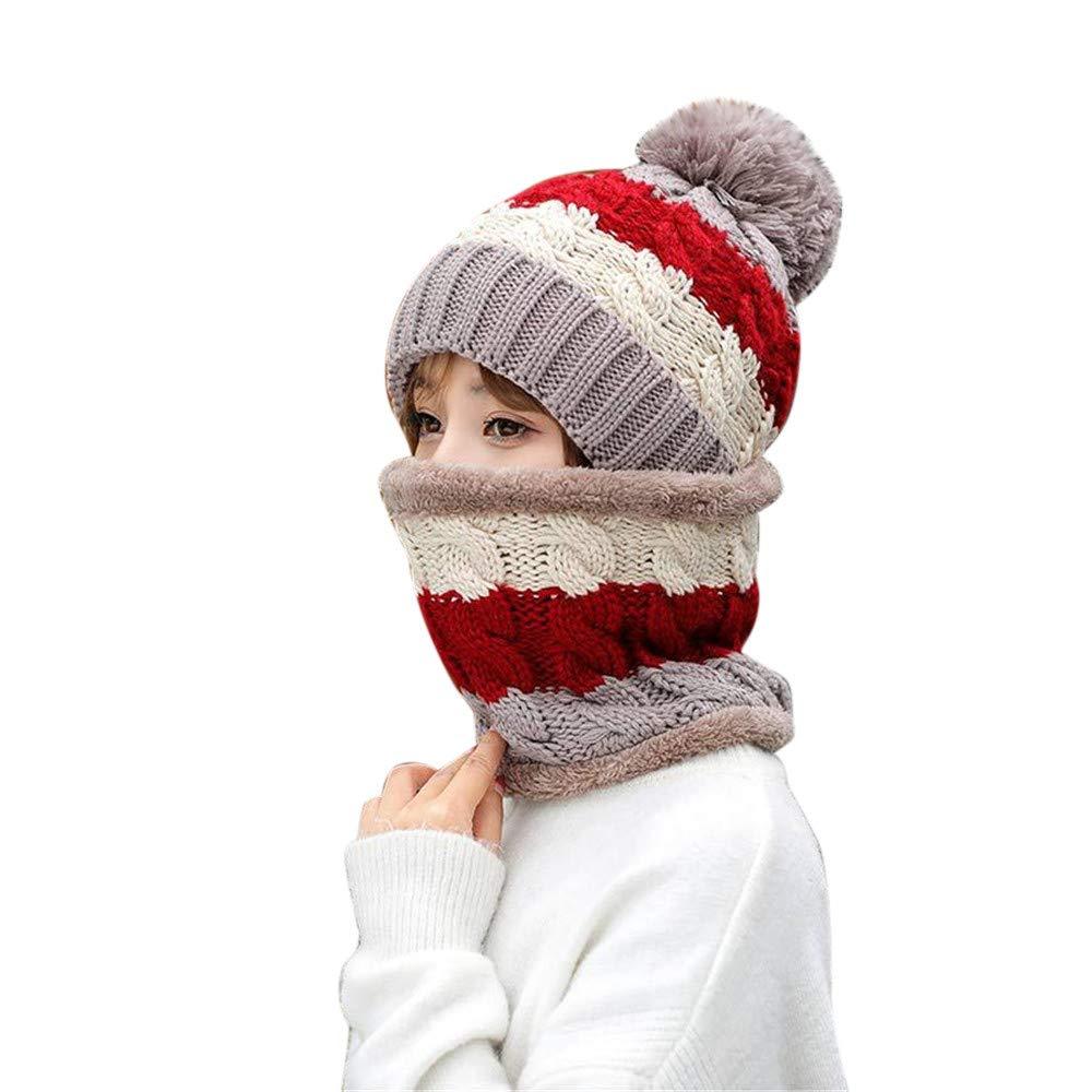 BSGSH Winter Beanie Hat Scarf Set Warm Knit Hat Pom Pom Skull Cap for Men Women (Khaki)