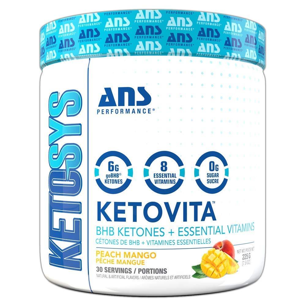 Ketovita - BHB Ketone Salts & Essential Vitamins (30 Servings) | Zero Sugar & Zero Carbs Ketogenic Supplement | Burn More Fat & Elevate Ketosis Easily | Delicious Peach Mango Flavor | Gluten Free