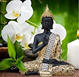 Tied Ribbons Buddha Idol ( 7 Inch X 4.5 Inch,Golden)