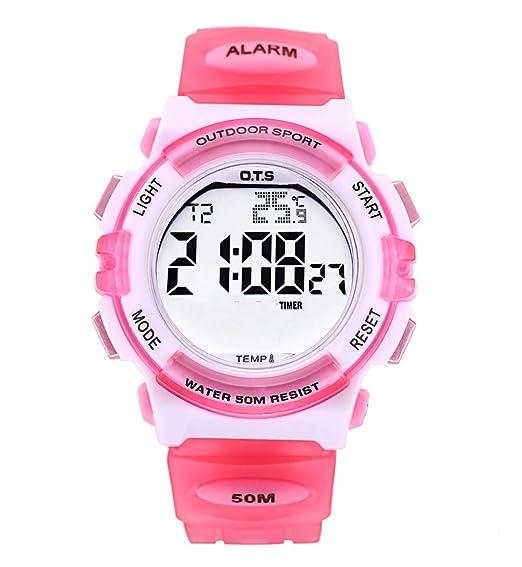 OTS - Reloj Deportivo para Niños Digital Resisitente al Agua Multifuncional con Luz Alarma Electrónico Infantil Regalo para Niñas - Rosa: Amazon.es: Relojes