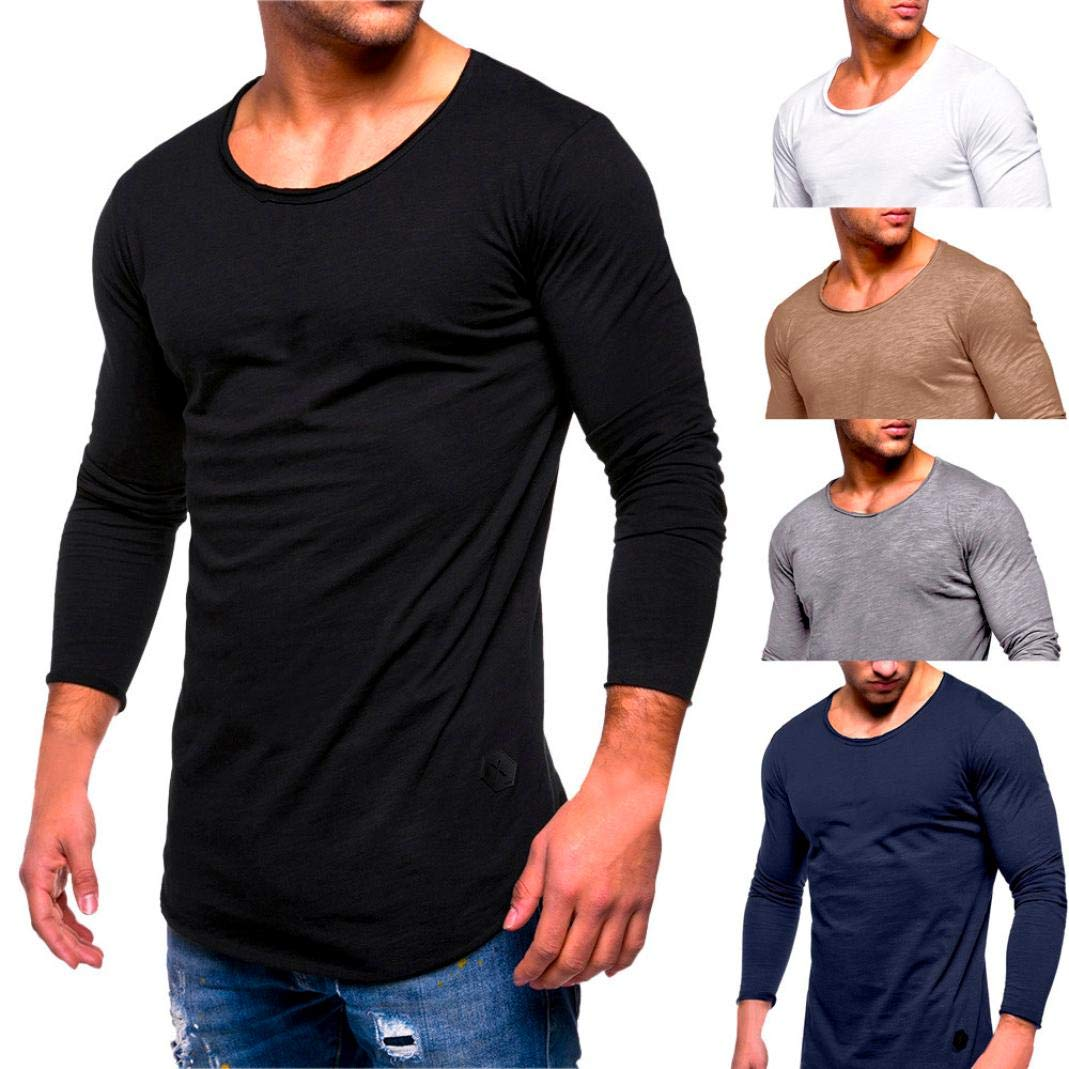 0cae55f5e9a Outtop(TM) Men s Tee Slim Fit O Neck Muscle Cotton Casual Tops Blouse Shirts   Amazon.in  Clothing   Accessories