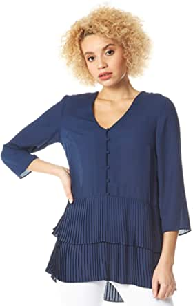 Roman Originals - Túnica plisada con botones en la parte delantera - Blusa de mujer con botones de muselina ligera, cuello en V, mangas 3/4, estilo informal, para oficina o salidas