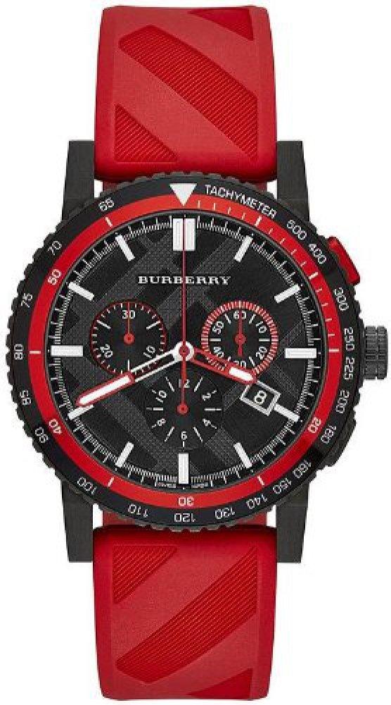 腕時計 バーバリー BURBERRY Men's BU9805 The New City Red/Black Check Ion plated steel Watch [並行輸入品] B00NQM2QSS