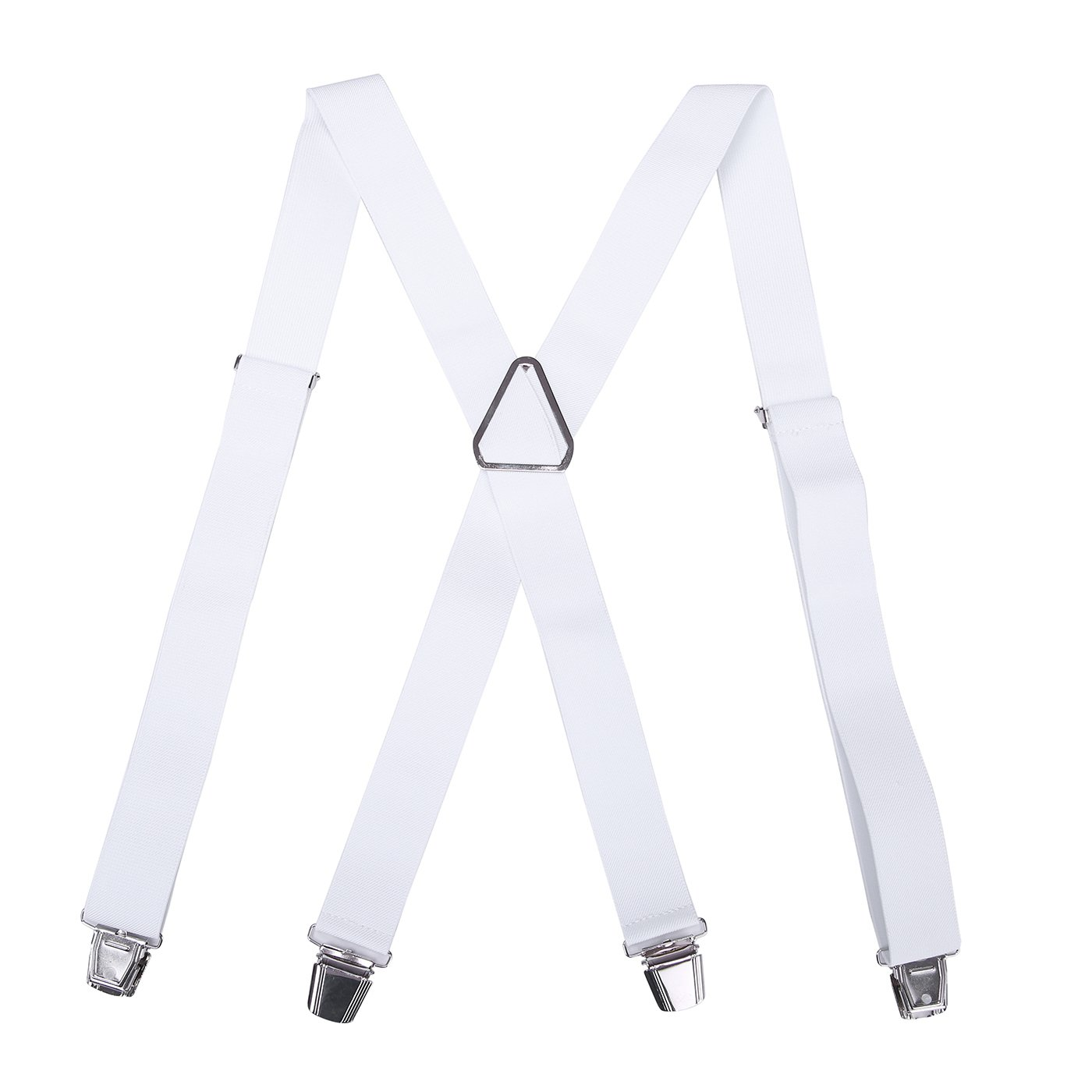 HDE Mens Solid X-Back Suspenders - 1.5 Inch Adjustable Straight Clip On Braces (White, 48 inches)