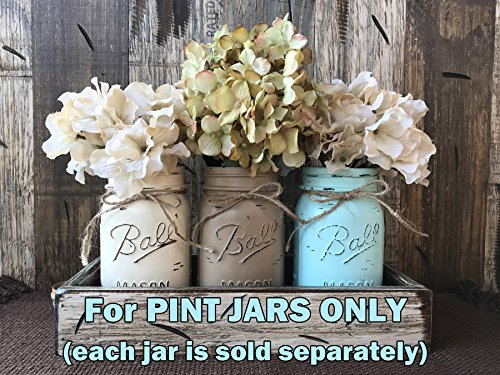 Mason Canning PAINTED Pint JAR ONLY ~ Design a Centerpiece for Kitchen (Blue Cream Jug)
