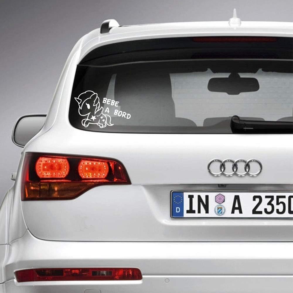 Anakiss Sticker b/éb/é /à bord pour voiture Licorne 20 cm Blanc