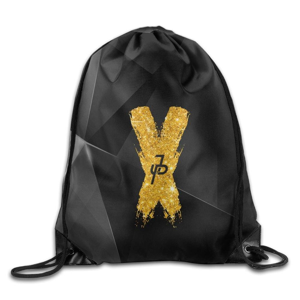 Jake Paul X Gold Logo Unisex Drawstring Backpack Travel Sports Bag Beam Port Knapsack