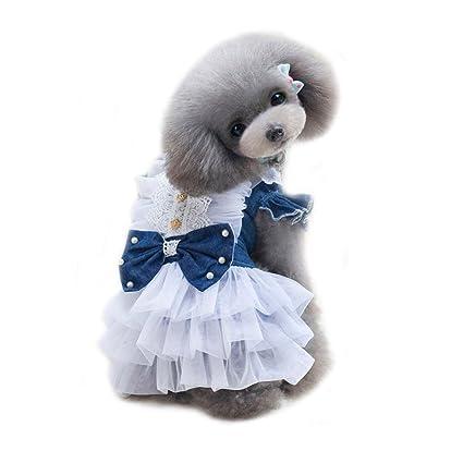 Amazoncom Wondersky Pet Dog Jean Dresses Puppy Clothes Cute Bow