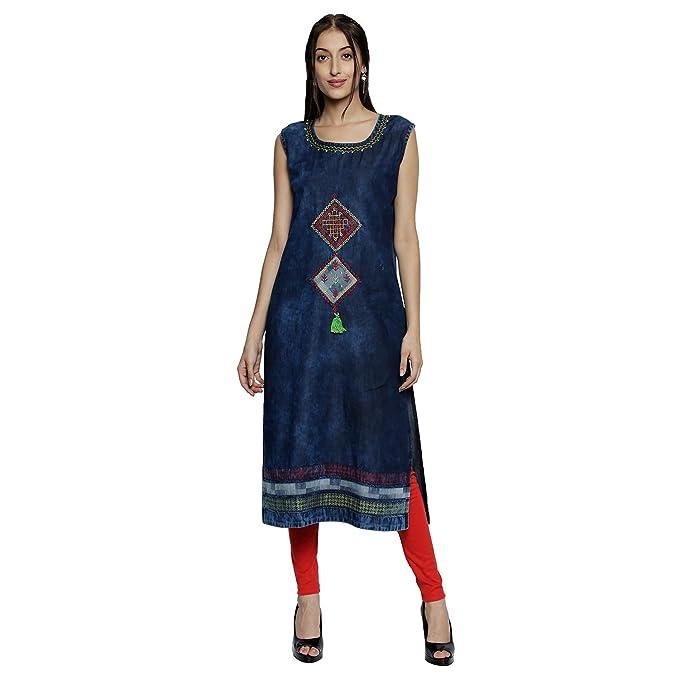 a6ecb40d06 Denim Kurti for Women - Sleeveless Round neck Kurti - Ethnic wear for Women  - Denim Blue Color Tunic - Knee Length Kurta Shokhi Kurti for Women kurti  for ...