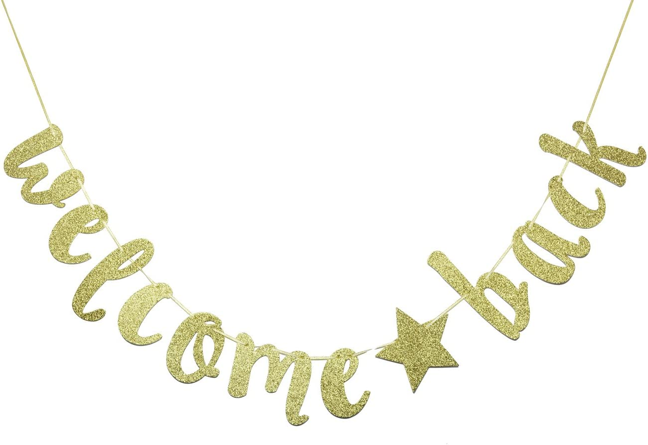 FOZEE Welcome Back Banner Sign,Home, Schoolyard, Classroom Decorations(Gold)