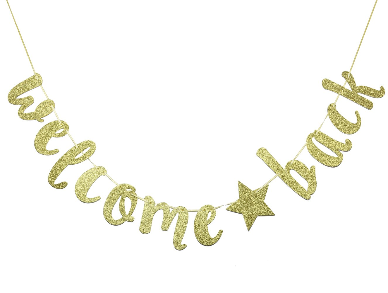 JustParty Welcome Back Banner Sign,Home, Schoolyard, Classroom Decorations(Gold)