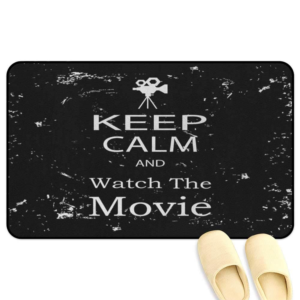 homecoco Keep Calm Mat Rug Watch The Movie Quote for Film Buffs Grungy Weathered Backdrop with Old Camera Black White 3D Digital Printing Mat W39 x L63 INCH