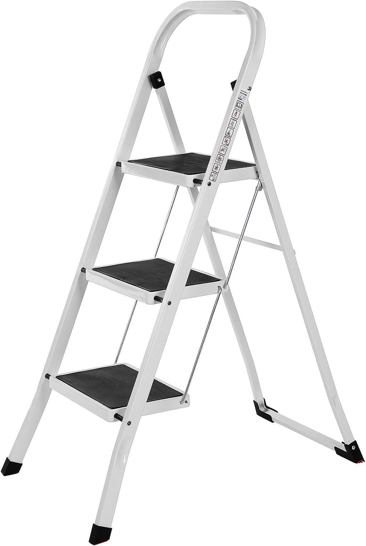 SONGMICS Escalera Plegable Robusto 3 peldaños, con Apoyabrazos Altura de trabajo 260 cm, Hasta 150 kg certificado por TÜV Rheinland de acuerdo con el estándar EN14183 GSL03WT