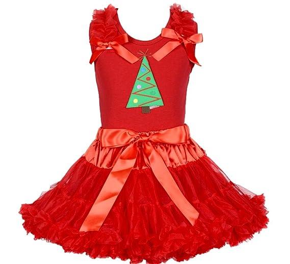 Disfraz de árbol de Navidad rojo algodón camiseta rojo falda de ...
