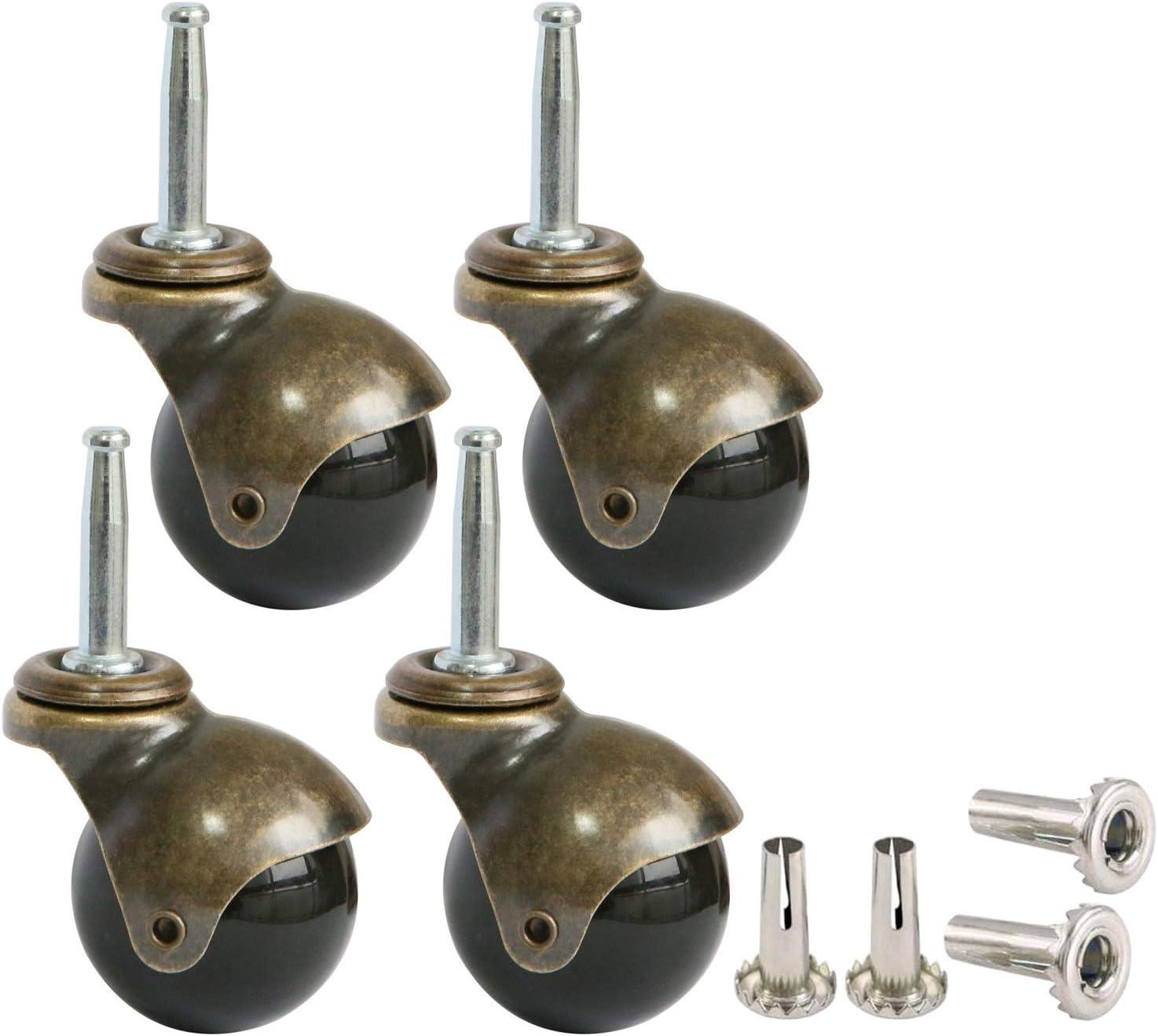 Ruedas orientables de 5 cm recambios para muebles con v/ástago y caja de montaje juego de 4 unidades doradas de MySit