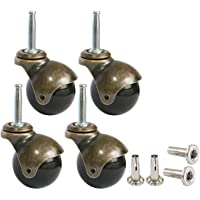 MySit 2″ Ball Casters Wheels for Furniture Casters Set of 4, Antique Copper Gold Ball Caster with 5/16″ x 1 1/2″ (8 x 38mm) Mounting Stem Sleeve Socket Insert Replacement for Sofa Chair Cabinet