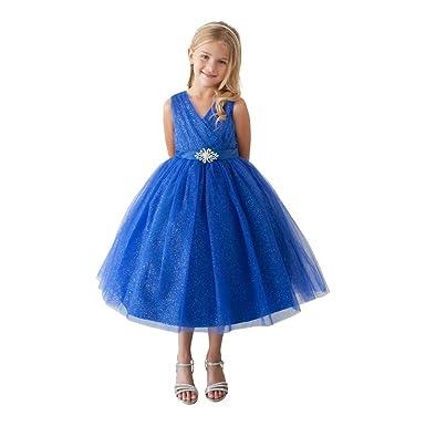 3ba25de3 Little Girls Royal Blue Glitter Tulle Rhinestone Brooch Flower Girl Dress 2