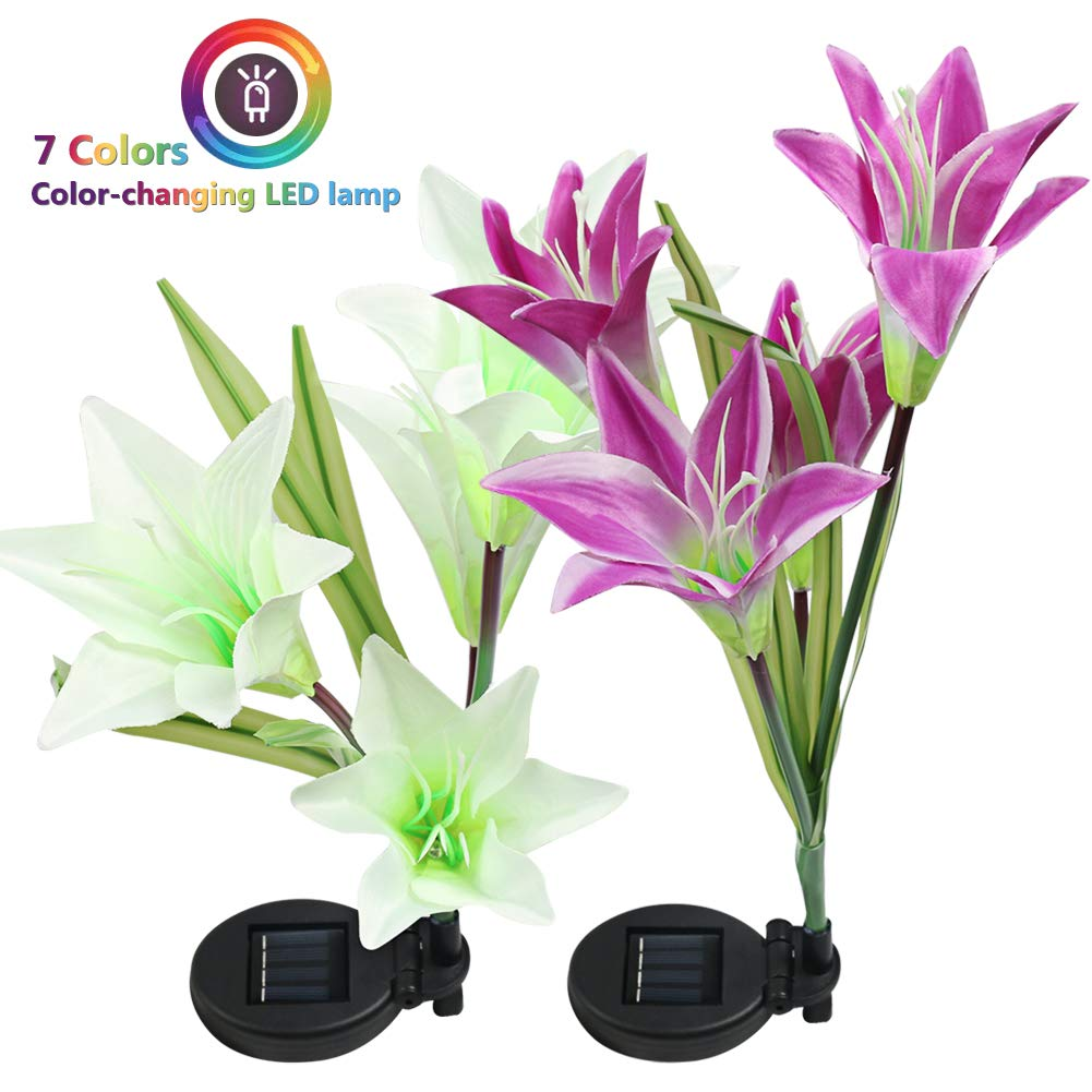 Solar Garden Stake Lights - 2 Pack Outdoor Solar Powered Lights with 8 Lily Flower, Multi-Color Changing LED Solar Decorative Lights for Garden, Patio, Backyard Decor (Purple & White)
